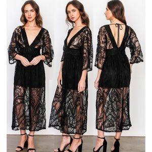 Black Sheer Lace Plunging V Neck Kimono Midi Dress